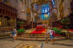 PALMA DE MALLORCA, SPAIN - AUGUST 18 2017: Interior view of Cathedral of Santa Maria of Palma La Seu in Palma de. Mallorca, Spain Stock Photos