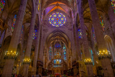PALMA DE MALLORCA, SPAIN - AUGUST 18 2017: Interior view of Cathedral of Santa Maria of Palma La Seu in Palma de Royalty Free Stock Photo