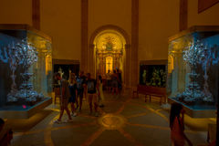 PALMA DE MALLORCA, SPAIN - AUGUST 18 2017: Unidentified people enjoying the interior view of Cathedral of Santa Maria of. Palma La Seu in Palma de Mallorca Royalty Free Stock Photos