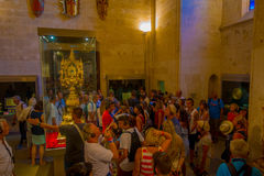 PALMA DE MALLORCA, SPAIN - AUGUST 18 2017: Unidentified people enjoying the interior view of Cathedral of Santa Maria of. Palma La Seu in Palma de Mallorca Stock Images