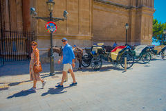PALMA DE MALLORCA, SPAIN - AUGUST 18 2017: Unidentified people walking near of Cathedral of Santa Maria of Palma La Seu. In a gorgeous blue sky, in Palma de Royalty Free Stock Photography