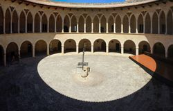 Palma de Mallorca, Spain. The circular inner courtyard of the Bellveer castle royalty free stock photography