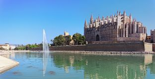 Palma de Mallorca, Spain. The gothic Cathedral of Santa Maria. At summer time Royalty Free Stock Photo