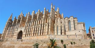 Palma de Mallorca, Spain. The gothic Cathedral of Santa Maria. Summer time Royalty Free Stock Photo