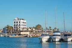 Portixol marina moored boats. PALMA DE MALLORCA, SPAIN - JANUARY 4, 2018: Portixol Hotel and marina moored boats in afternoon sunshine on January 4, 2018 in Stock Image