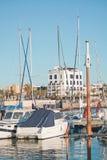 Portixol marina moored boats. PALMA DE MALLORCA, SPAIN - JANUARY 4, 2018: Portixol Hotel and marina moored boats in afternoon sunshine on January 4, 2018 in Royalty Free Stock Photography