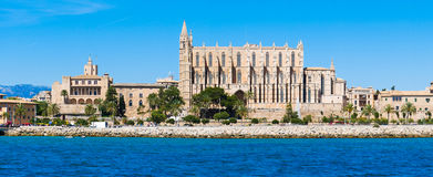 Palma de Mallorca, Spain. La Seu - the famous medieval gothic ca. Tholic cathedral. Panorama from the sea Stock Images