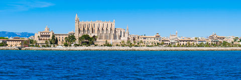 Palma de Mallorca, Spain. La Seu - the famous medieval gothic ca. Tholic cathedral. Panorama from the sea stock photos