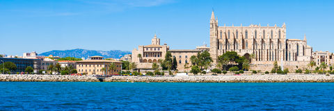 Palma de Mallorca, Spain. La Seu - the famous medieval gothic ca. Tholic cathedral. Panorama from the sea royalty free stock photography