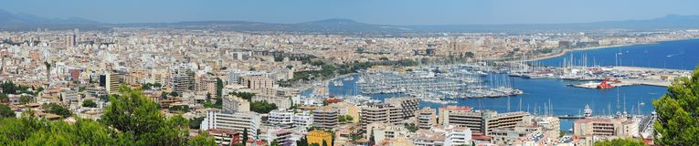 Palma de Mallorca, Spain. Landscape to the city from the Bellver Castle. Summer time Royalty Free Stock Images