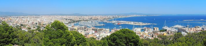 Palma de Mallorca, Spain. Landscape to the city from the Bellver Castle. Summer time Stock Images