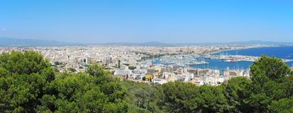 Palma de Mallorca, Spain. Landscape to the city from the Bellver Castle. Summer time Royalty Free Stock Photo