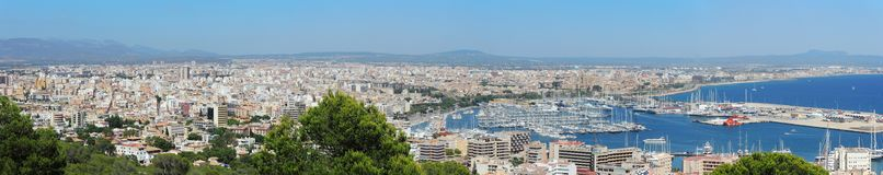 Palma de Mallorca, Spain. Landscape to the city from the Bellver Castle. Summer time Stock Image