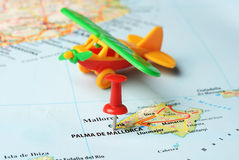 Palma de  mallorca   ,Spain map airplane Stock Images