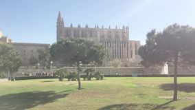 La Seu gothic cathedral and park area. PALMA DE MALLORCA, SPAIN - MAY 23, 2019: La Seu gothic cathedral and park area with trees, birds, fountain and people from stock footage