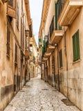 Palma de Mallorca, Spain. Narrow street in the old town of Palma de Mallorca, Spain royalty free stock photography