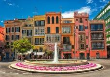 Palma de Mallorca, Spain. Old colorful houses in the center of spanish town Palma de Mallorca, Spain stock photos