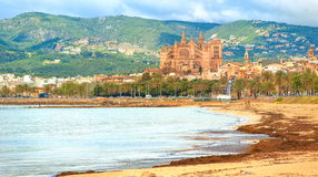 Palma de Mallorca, Spain. Sand beach in Palma de Mallorca with gothic cathedral in background, Spain Royalty Free Stock Images