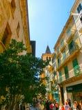 Palma de Mallorca, Spain - September 07, 2015: People at the central streets of Palma de Mallorca, Balearic Islands royalty free stock photography