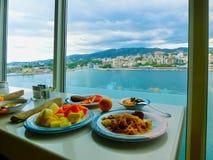 Palma de Mallorca, Spain - September 07, 2015: Royal Caribbean, Allure of the Seas. Palma de Mallorca, Spain - September 07, 2015: The main restaurant at Royal Stock Photo