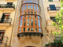 Palma de Mallorca, Spain. The typical balconies on the facades of the buildings and houses in the old city center. Summer time Royalty Free Stock Photos