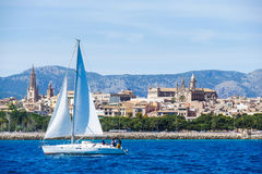 Palma de Mallorca, Spain. View from the sea with boath on a hot. Summer day Stock Image