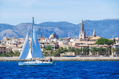 Palma de Mallorca, Spain. View from the sea with boath on a hot Stock Photography