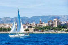 Palma de Mallorca, Spain. View from the sea with boath on a hot. Summer day Royalty Free Stock Photos
