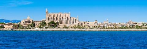 Palma de Mallorca Spanien La Seu - den berömda medeltida gotiska caen Arkivfoton