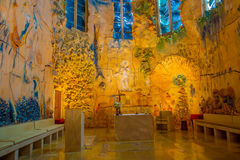 PALMA DE MALLORCA, SPANJE - AUGUSTUS 18 2017: Schitterende mening van binnenland van Kathedraal van Santa Maria van Palma La Seu  Stock Afbeeldingen