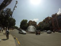 Palma de Mallorca - street. Street in Palma de Mallorca with sky, clouds, sky, cars and people by Gopro Stock Photos