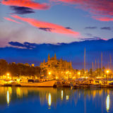 Palma de Mallorca sunrise with Cathedral and port. In Majorca Balearic islands of spain Stock Image