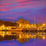Palma de Mallorca sunrise with Cathedral and port. In Majorca Balearic islands of spain Royalty Free Stock Photos