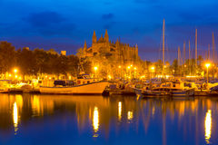Palma de Mallorca sunrise with Cathedral and port Royalty Free Stock Images