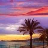 Palma de Mallorca sunset at port in Majorca. Balearic islands of Spain Royalty Free Stock Image