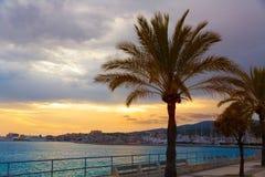 Palma de Mallorca sunset at port in Majorca. Balearic islands of Spain Royalty Free Stock Photo
