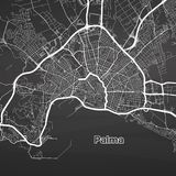 Palma de Mallorca urban vector map. White Highways and City Streets on Black Background Stock Photo