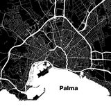 Palma de Mallorca urban vector map. White Highways and City Streets on Black Background Royalty Free Stock Photos