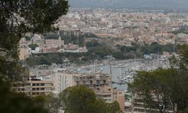 Palma de mallorca view from Bellver hill wide. The city of Palma de Mallorca view from nearby hill of Bellver. Local government will avoid touristic housing Stock Image