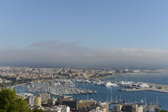Palma de Mallorca:View of harbour and cathedral. From bellver castle Stock Photos