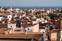 Palma de Mallorca view over the rooftops.  Royalty Free Stock Images