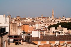 Palma de Mallorca view over the rooftops.  Royalty Free Stock Photography