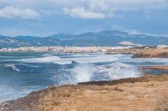 Palma de Mallorca in windy bay. Waves on rocky shores outside Palma de Mallorca Stock Photo