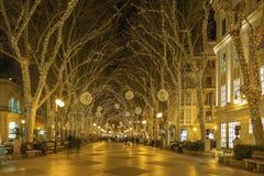 Palma De Mallroca - boże narodzenie dekoracja na ulicie stary miasteczko obraz royalty free