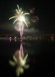 Palma dei fuochi d'artificio del ` s EVE del nuovo anno Fotografie Stock