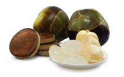 Palma di Palmira, palma di Toddy o frutta della palma da zucchero isolata su bianco immagini stock