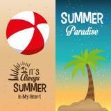 Palma do paraíso do verão de dois insetos e seu sempre dentro meu coração Fotografia de Stock Royalty Free