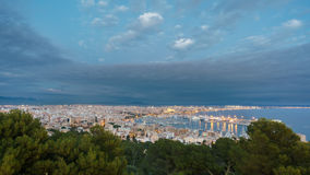 Palma at dusk, Majorca, Spain. Shot from bellver castle. Cloudy sky at dusk over Palma in Majorca island, shot from bellver castle, Spain Royalty Free Stock Photography