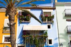 Palma e casas coloridas com os balcões decorados com as flores na vila de Villajoyosa, Espanha Fotos de Stock