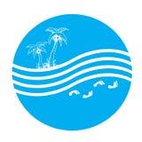 Palma e mar Imagens de Stock